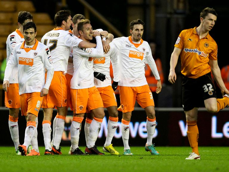 Blackpool celebrate Tom Ince's second goal