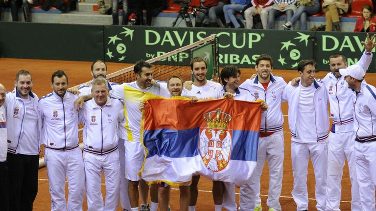 Serbia: Davis Cup team celebrate victory over Belgium in Charleroi