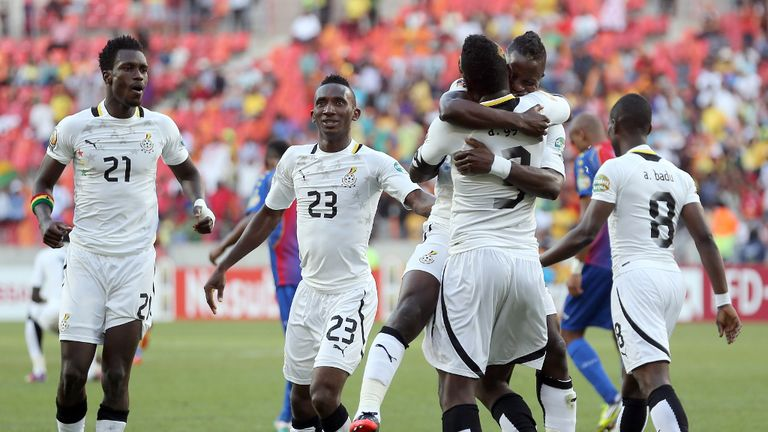 Ghana: Players celebrate making semi-finals