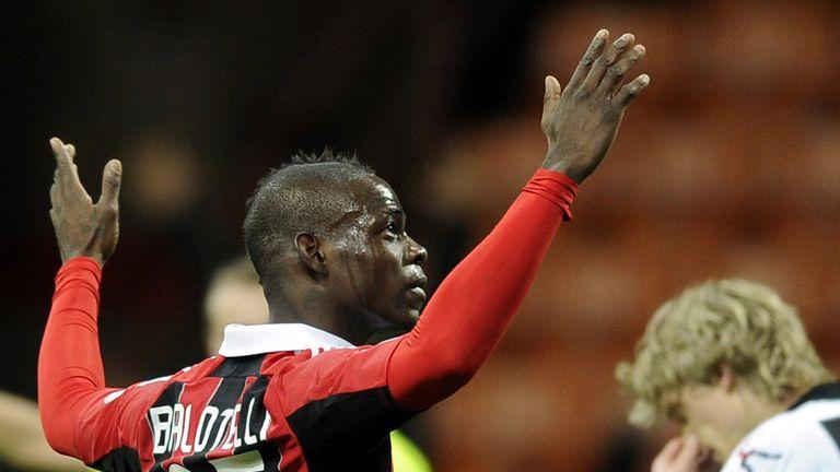 Balotelli celebrates his opening goal