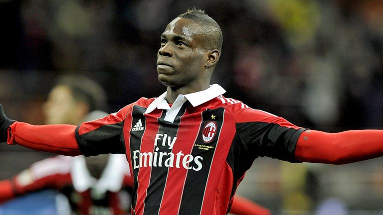 Mario Balotelli: Celebrates winning goal for Milan