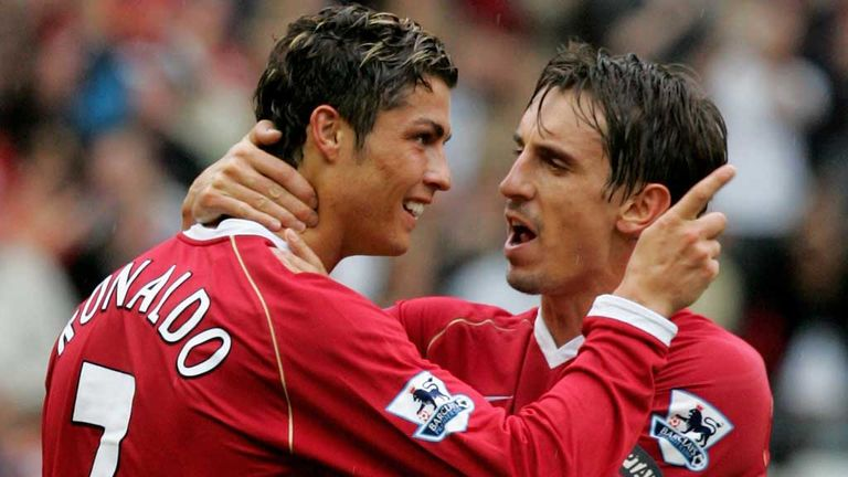 Cristiano Ronaldo celebrates a goal with Gary Neville in 2006