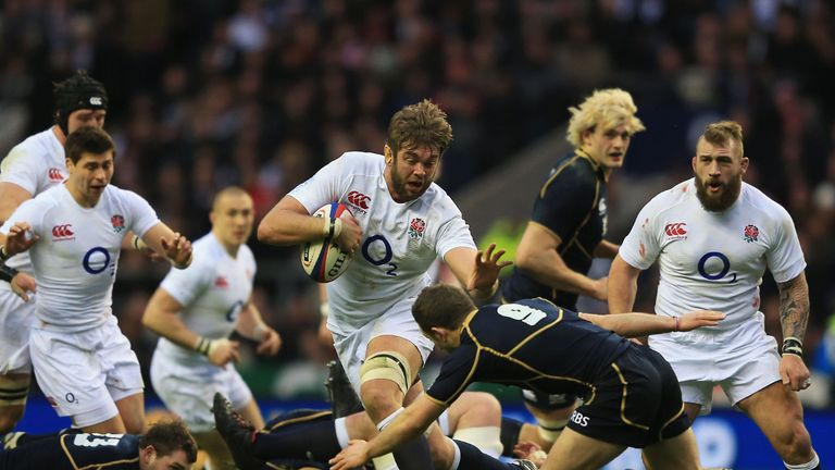 Geoff Parling scored one of England's four tries against Scotland