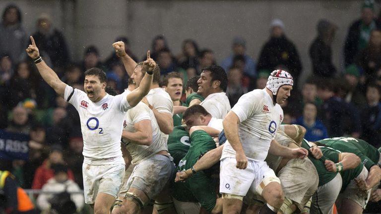Ben Youngs (left) celebrates England's victory over Ireland in Dublin