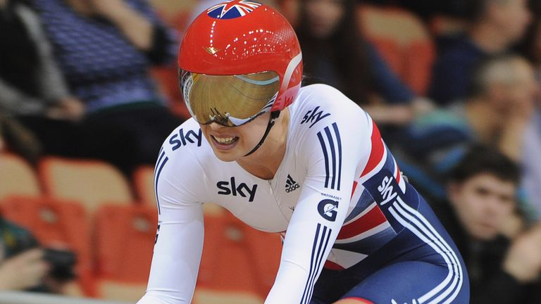 Becky James qualified fastest in the women's individual sprint