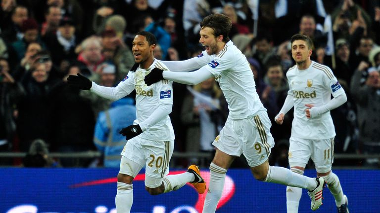Jonathan de Guzman: Dutchman celebrates scoring for Swansea against Bradford at Wembley