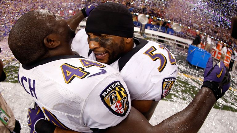 Ray Lewis: Celebrates with Vonta Leach at the end of Super Bowl XLVII
