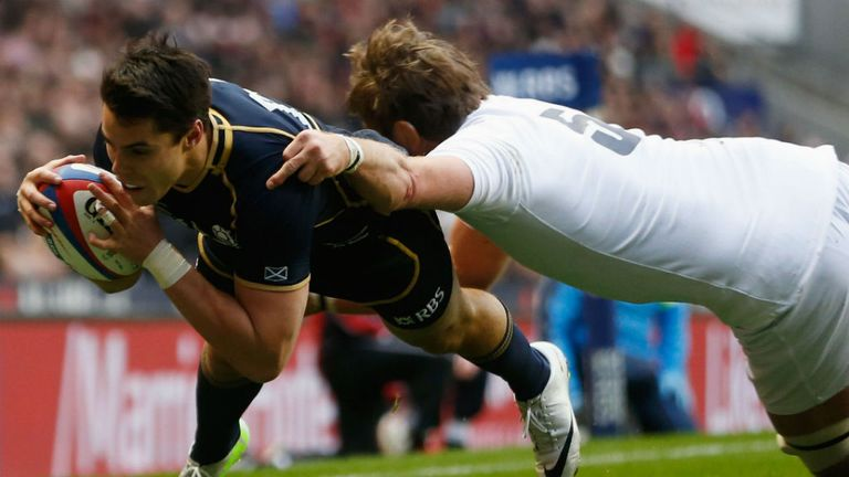 Sean Maitland marking his Scotland debut with a try at Twickenham
