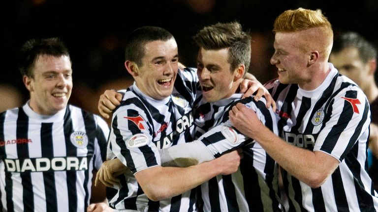 Graham Carey: Celebrates strike against Hearts