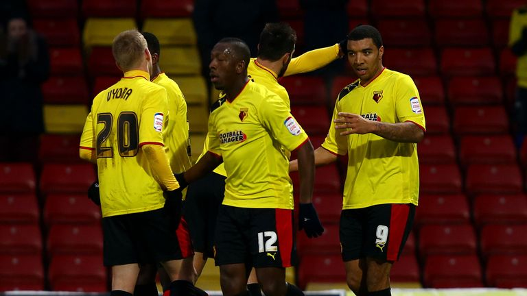 Troy Deeney (far right): Scored twice as Watford beat Blackburn