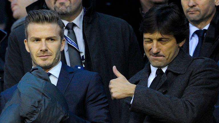 Leonardo: With former Paris Saint-Germain player David Beckham