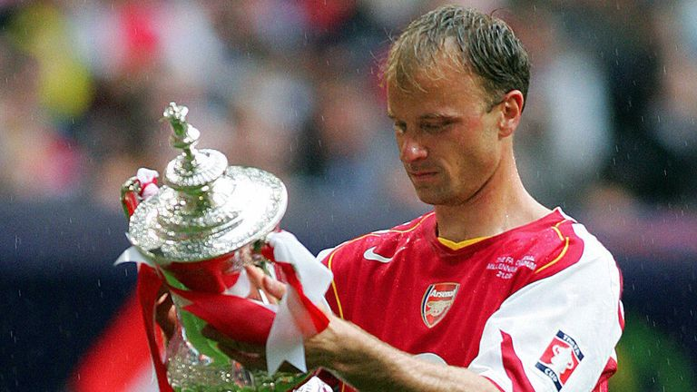 Dennis Bergkamp with the FA Cup in 2005 - the last time Arsenal won a trophy