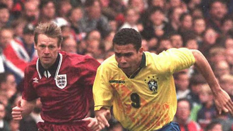 Ronaldo has Stuart Pearce chasing his tail as Brazil teach England a lesson at Wembley back in 1995