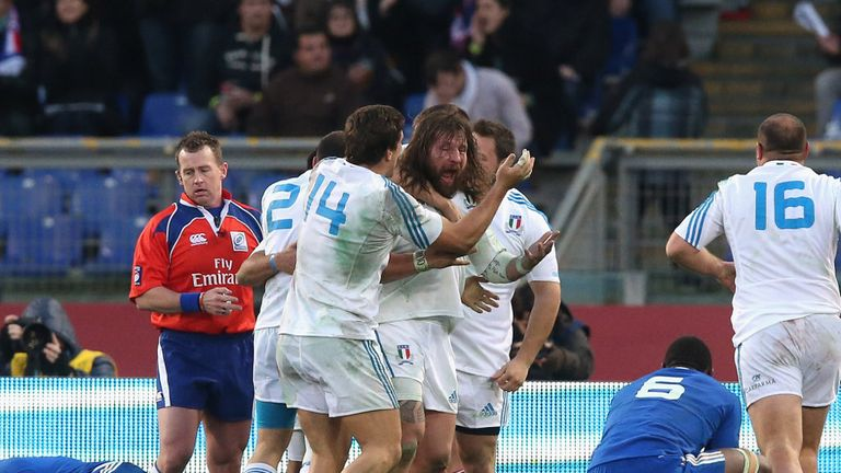 Martin Castrogiovanni celebrates his try for the hosts