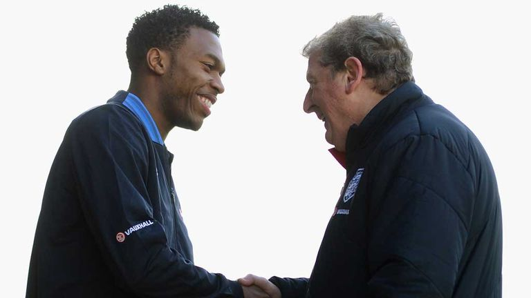 Daniel Sturridge: Liverpool striker greets England boss Roy Hodgson prior to withdrawing from the squad to face Brazil