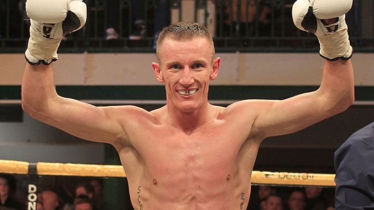 Tom Stalker celebrates victory on his professional debut