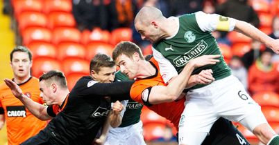 James McPake: Heads home an equaliser for Hibernian