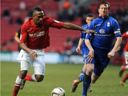 Charlton&#39;s Ricardo Fuller in action against Birmingham