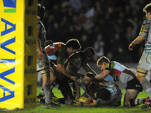 Danny Care celebrates his try