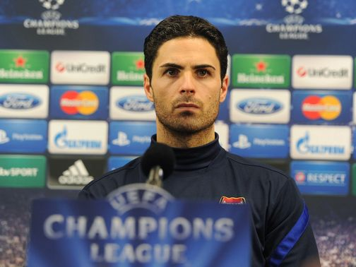 Mikel Arteta faces the press ahead of the game.