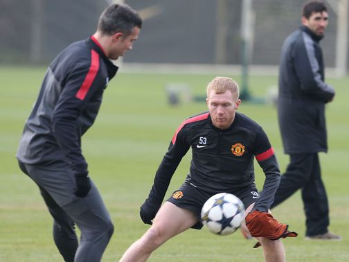 Paul Scholes in training on Tuesday