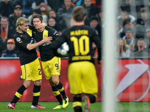 Borussia Dortmund celebrate against Shakhtar