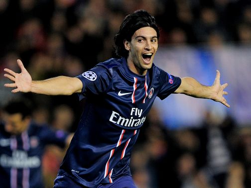 Javier Pastore celebrates his goal for PSG