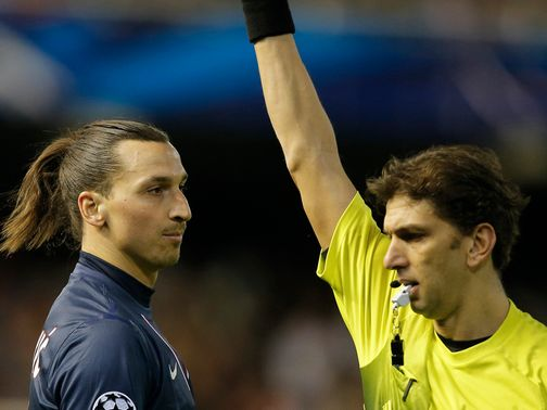 Ibrahimovic was sent off against PSG.
