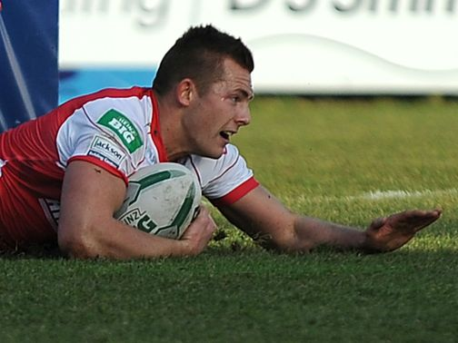 Greg Eden goes in for a Rovers try