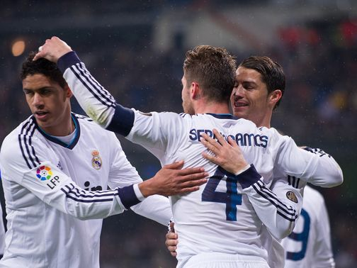 Sergio Ramos celebrates his goal for Real Madrid