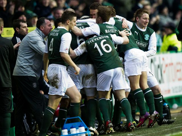 Hibernian celebrate what proved to be the winning goal