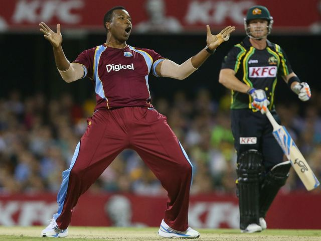 Kieron Pollard celebrates the wicket of Brad Haddin