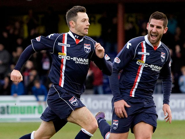 Ivan Sproule celebrates the game's only goal