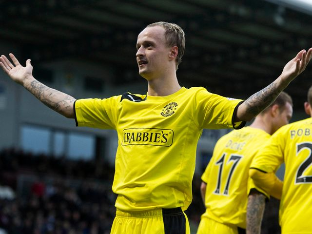 Leigh Griffiths celebrates the only goal of the game