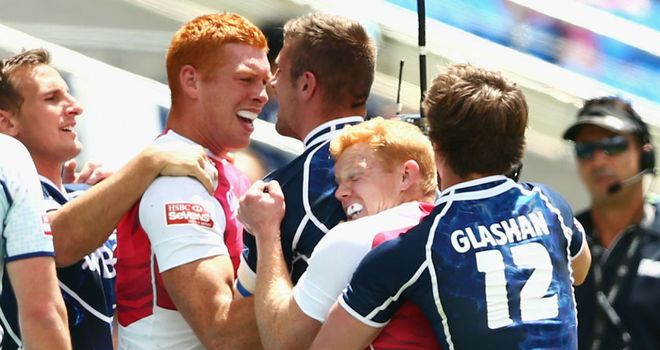 England and Scotland players clash at the Gold Coast Sevens