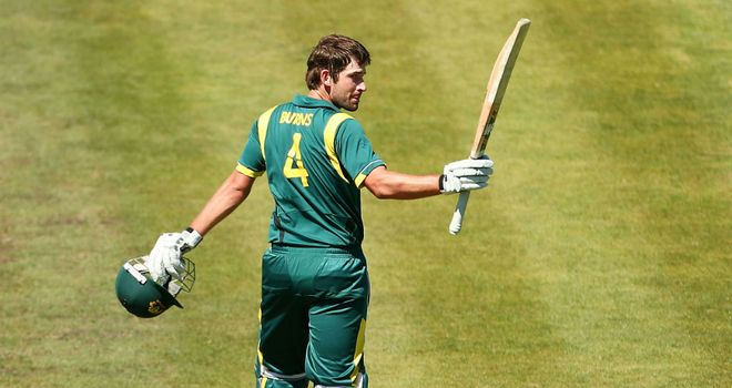 Joe Burns: Australia A batsman acknowledges the applause during his knock against England Lions