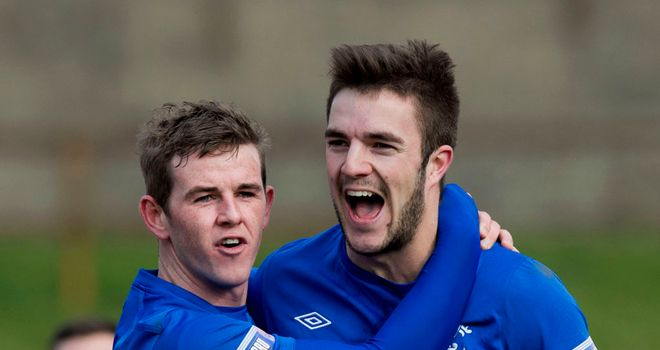 David Templeton and Andrew Little: Celebrate Rangers' second goal against Berwick