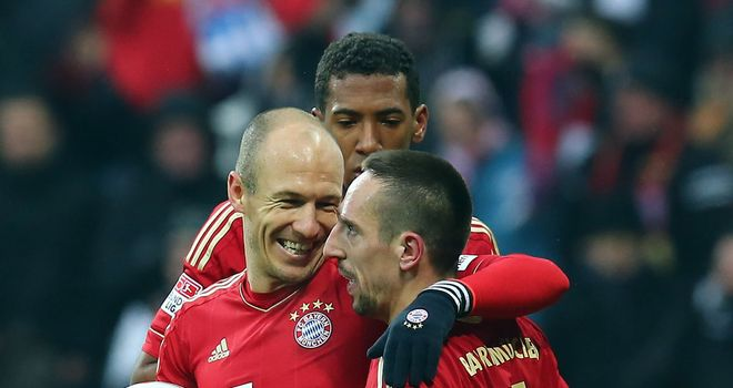 Arjen Robben and Frank Ribery celebrate for Bayern Munich