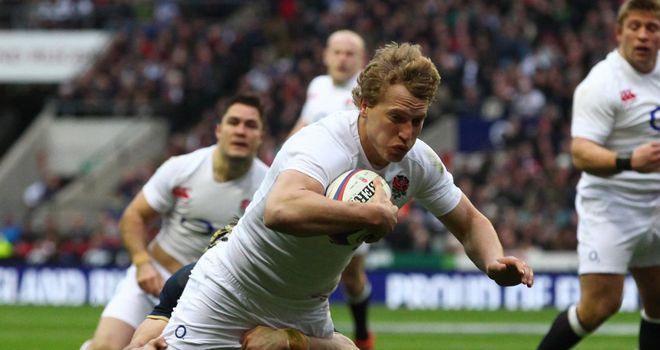 Billy Twelvetrees scores on his England debut
