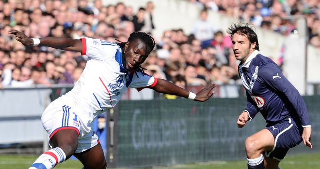 Bafetimbi Gomis in action for Lyon.