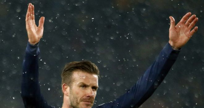 David Beckham salutes the crowd at full-time