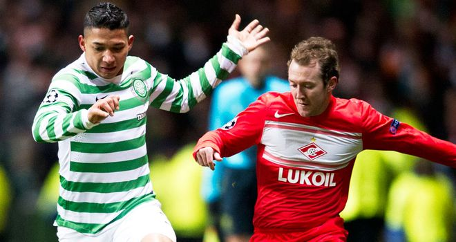 Aiden McGeady (right) in action against former club Celtic