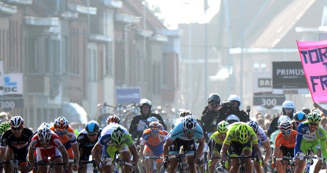 Tom Boonen, centre, is looking for back-to-back victories
