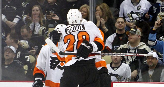 Philadelphia Flyers celebrate their 6-5 success over the Pittsburg Penguins