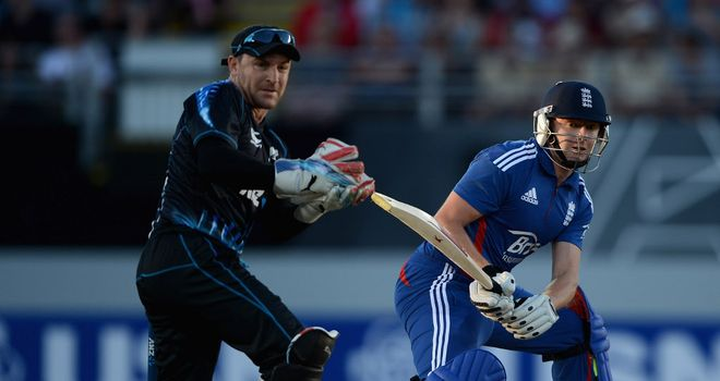 Brendon McCullum batting during New Zealand's defeat to England