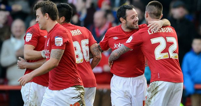Andy Reid celebrates after putting Forest ahead