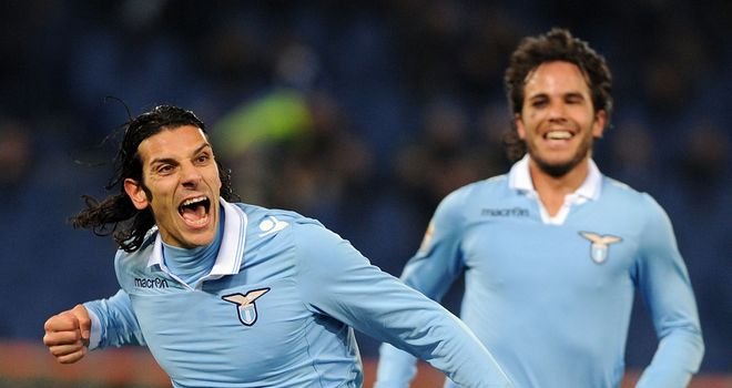 Sergio Floccari celebrates giving Lazio the lead
