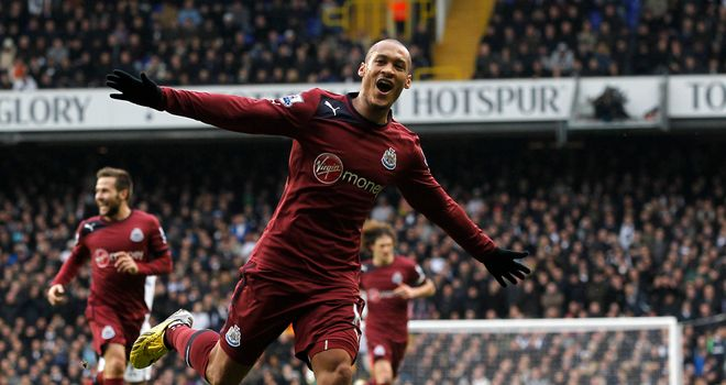 Yoan Gouffran: Newcastle striker celebrates after scoring at Tottenham