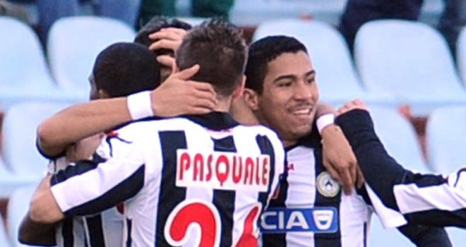 Udinese celebrate the only goal of the game