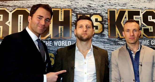 Eddie Hearn (L) was happy to make Froch-Kessler at the O2
